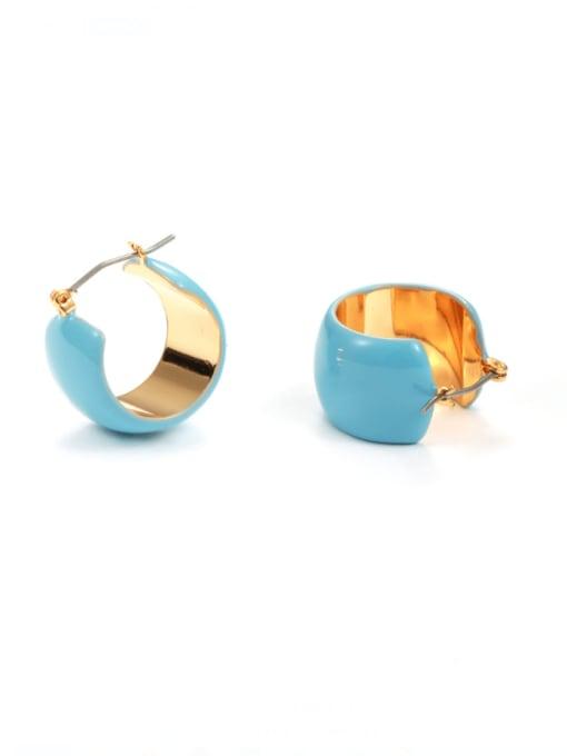 Five Color Brass Enamel Geometric Minimalist Huggie Earring 0