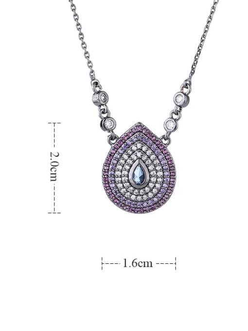 YILLIN Brass Cubic Zirconia Water Drop Vintage Necklace 4