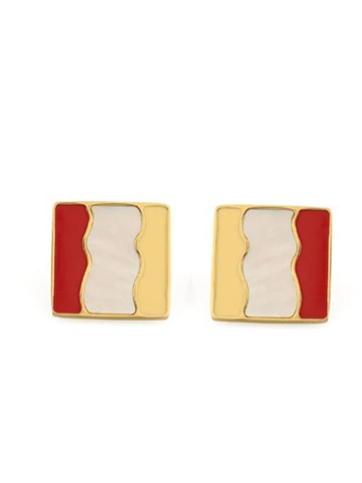 gules Alloy Enamel Geometric Vintage Stud Earring
