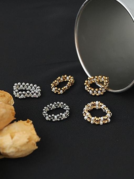 ACCA Brass Imitation Pearl Geometric Hip Hop Band Ring 0