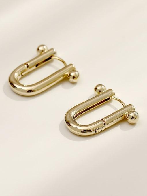 HYACINTH Brass Hollow Geometric Minimalist Huggie Earring 4