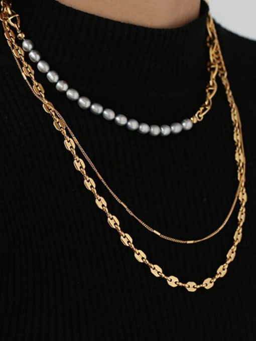 ACCA Brass Freshwater Pearl Geometric Vintage Multi Strand Necklace