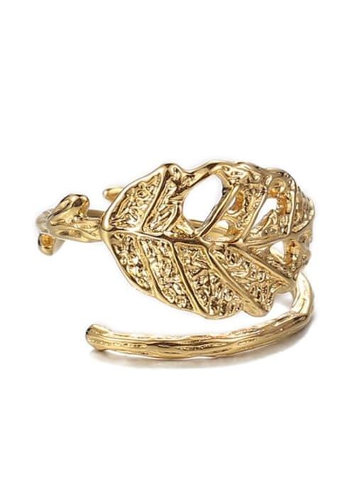golden Brass Tree leaf Vintage Band Ring