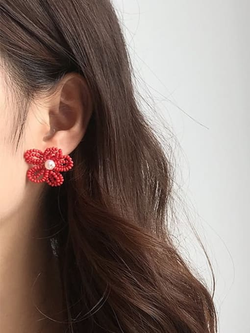 Five Color Alloy Bead Enamel Flower Bohemia Stud Earring 1