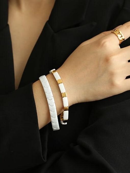 ACCA Brass Ceramic Geometric Vintage Link Bracelet 1