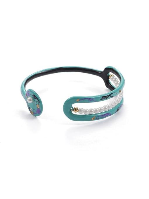 Five Color Zinc Alloy Imitation Pearl Enamel Geometric Minimalist Cuff Bangle