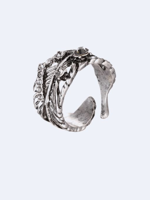 Ancient Alloy Rhinestone Irregular Vintage Band Ring