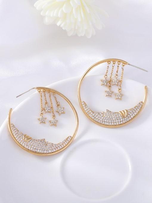 OUOU Brass Cubic Zirconia Geometric Ethnic Huggie Earring 1