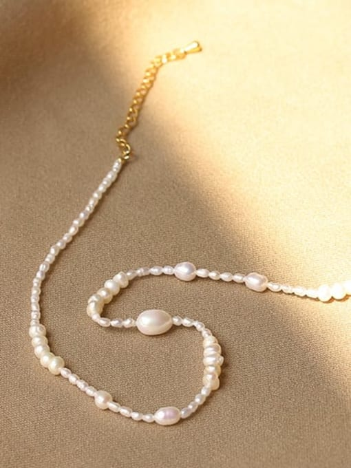 Pearl Necklace Brass Freshwater Pearl Geometric Minimalist Necklace