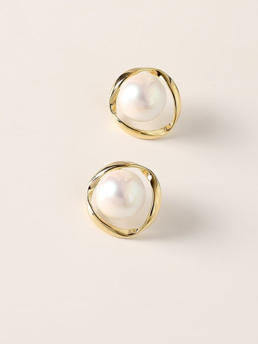 HYACINTH Brass Imitation Pearl Round Vintage Stud Earring 0