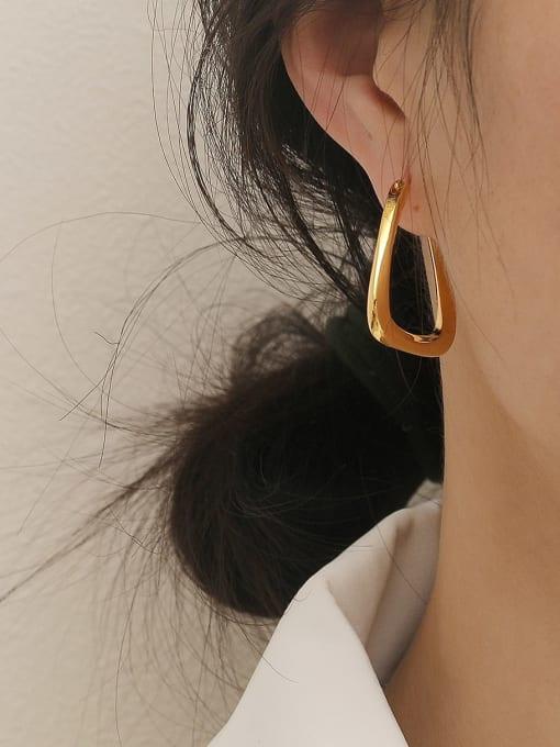 HYACINTH Brass Hollow Geometric Minimalist Stud Earring 1