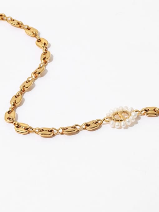 TINGS Brass Imitation Pearl Geometric Hip Hop Necklace 3