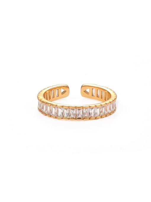 Transparent Brass Cubic Zirconia Geometric Minimalist Band Ring