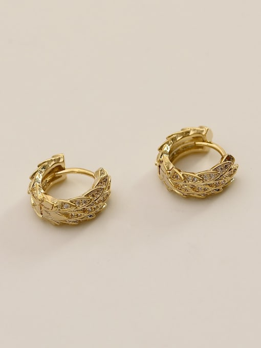 14K real gold Brass Cubic Zirconia Geometric Ethnic Huggie Earring