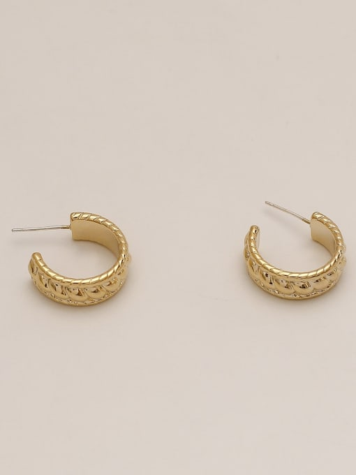 14k Gold Brass Geometric Ethnic Stud Earring