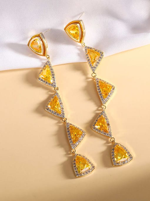 yellow Brass Cubic Zirconia Triangle Luxury Drop Earring