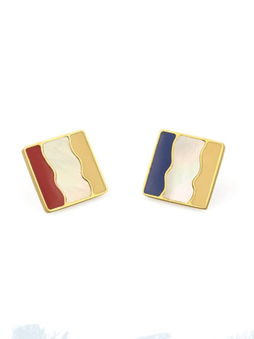 蓝色耳夹 Alloy Enamel Geometric Vintage Stud Earring