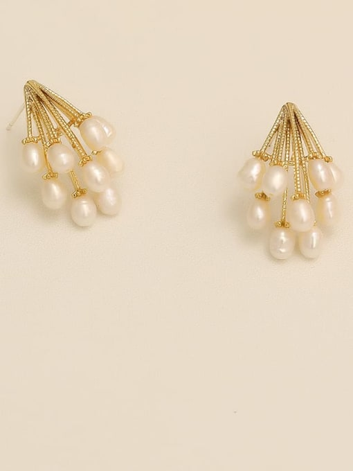 HYACINTH Copper Imitation Pearl Geometric Vintage Stud Earring 2
