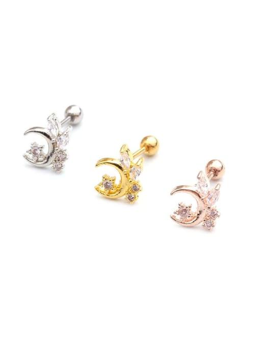 HISON Brass Cubic Zirconia Star Cute Stud Earring 4