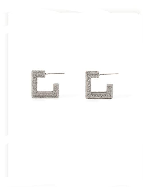 ACCA Brass Cubic Zirconia Square Minimalist Stud Earring 2