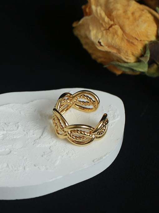 Five Color Brass Hollow Geometric Vintage Band Ring 2