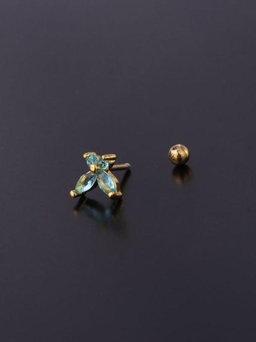 HISON Brass Cubic Zirconia Butterfly Cute Stud Earring 3