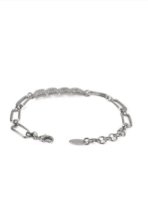 platinum Brass Cubic Zirconia Geometric chain Vintage Bracelet