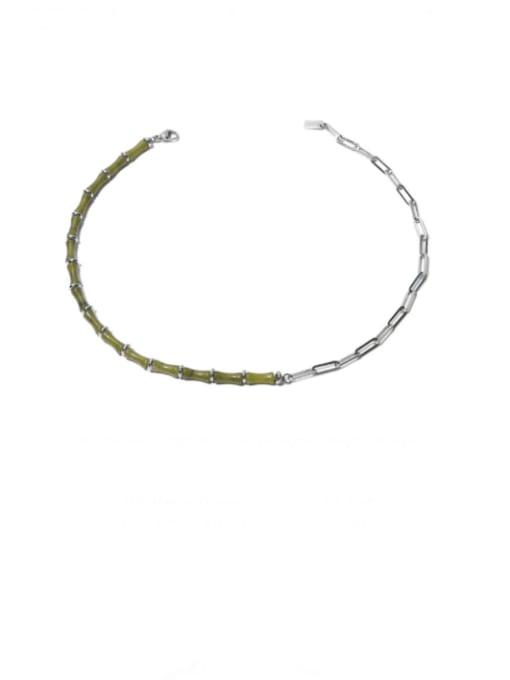 Necklace Brass Enamel Geometric Vintage Necklace