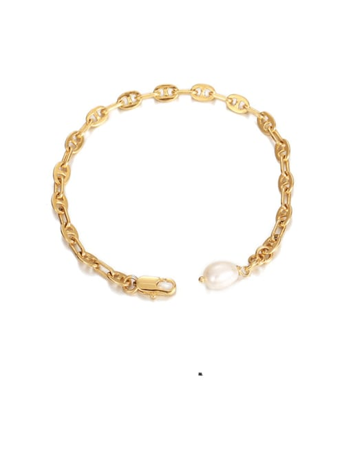 Pig nose Bracelet Brass Imitation Pearl Irregular Minimalist Bracelet