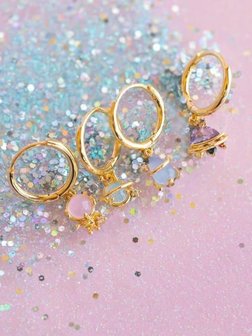 COLSW Brass Cubic Zirconia Irregular Minimalist Drop Earring 2