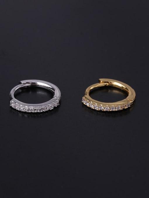 HISON Brass Cubic Zirconia Geometric Minimalist Single Earring 2