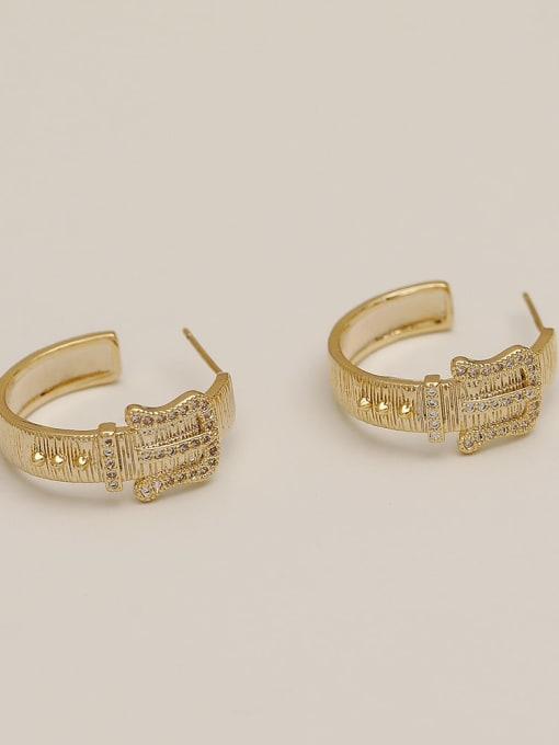 HYACINTH Brass Cubic Zirconia Geometric Vintage Hoop Earring 3