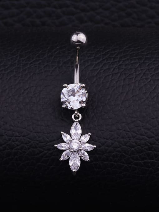 Section E  (Single) Titanium Steel Cubic Zirconia Flower Hip Hop Belly Rings & Belly Bars