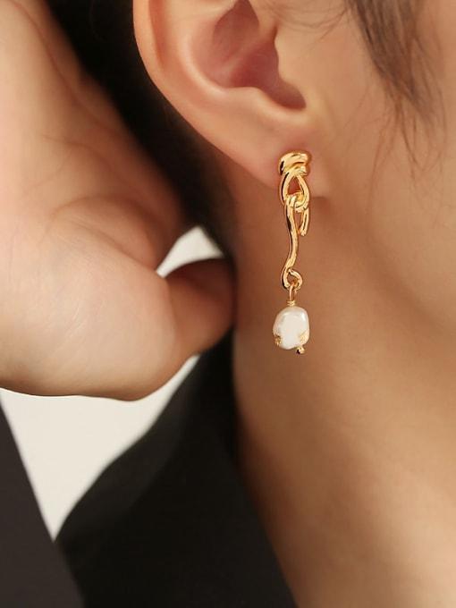 TINGS Brass Imitation Pearl Tassel Hip Hop Drop Earring 1