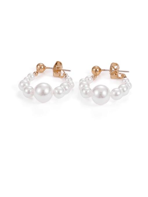 Pearl Earrings Brass Imitation Pearl Geometric Minimalist Huggie Earring