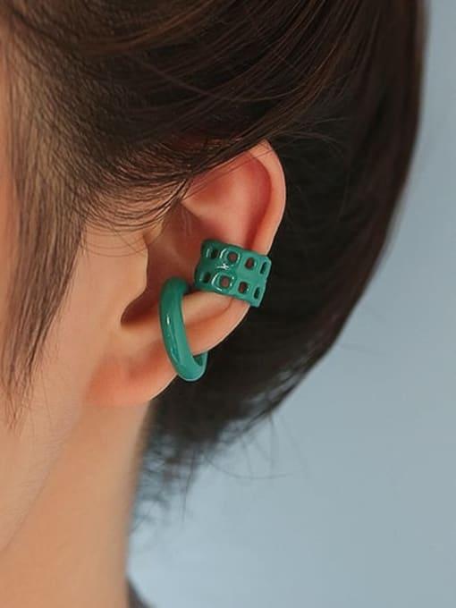 Five Color Brass Enamel Geometric Minimalist Single Earring 1