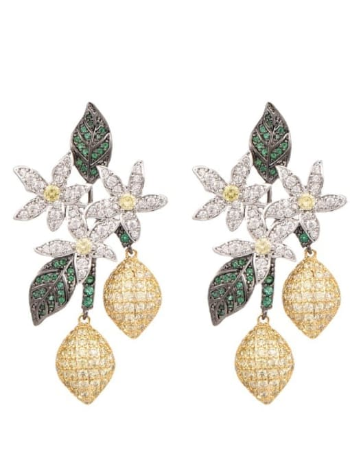 OUOU Brass Cubic Zirconia Flower Statement Cluster Earring 2