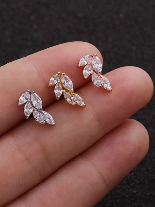 HISON Copper with Cubic Zirconia White Star Dainty Stud Earring(Single) 2