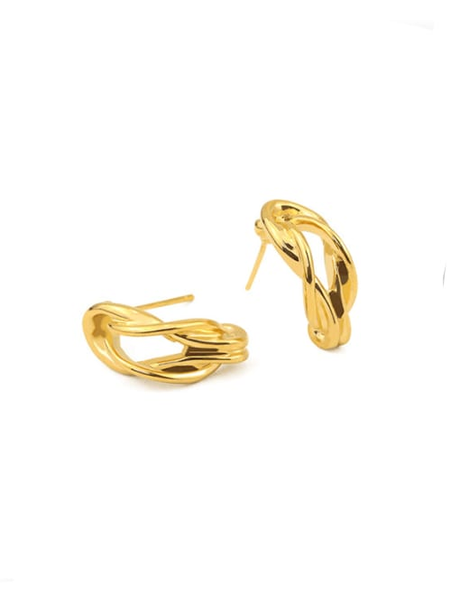 ACCA Brass Hollow  Irregular Vintage Stud Earring 2