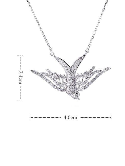 platinum Bird Brass Cubic Zirconia Vintage Pendant