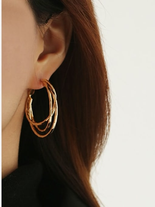 ACCA Brass Geometric Vintage Huggie Earring 1