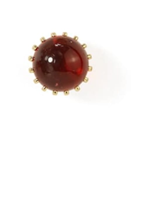 Wine red trumpet Alloy Bead Round Cute Stud Earring
