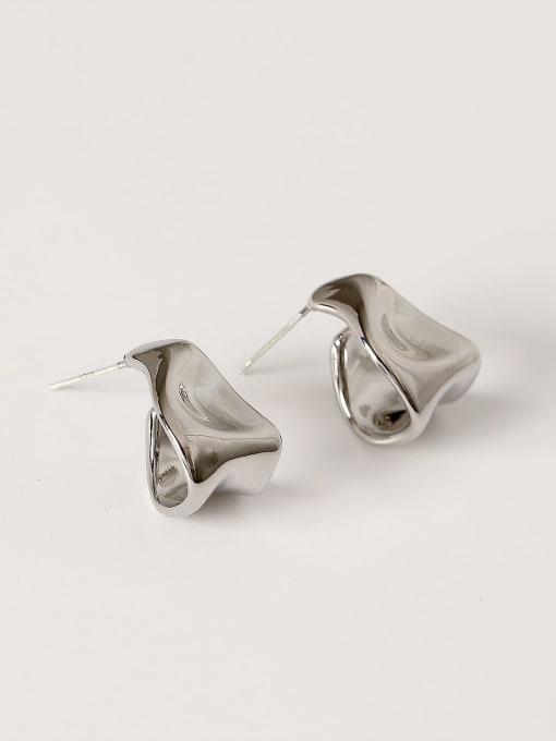 White K Brass Smooth Irregular Vintage Stud Earring
