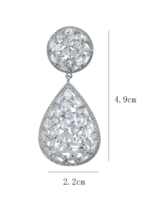 SUUTO Brass Cubic Zirconia Water Drop Luxury Drop Earring 3