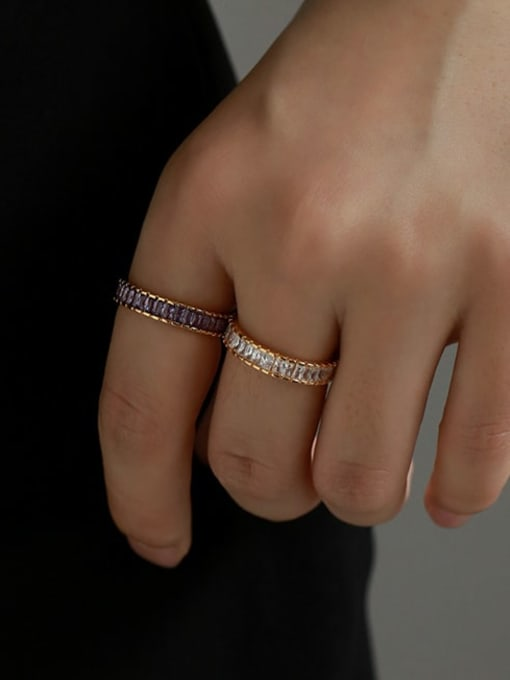 Five Color Brass Cubic Zirconia Geometric Vintage Band Ring 1