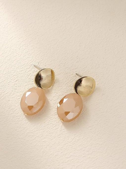 14k Gold+ light pink Brass Glass Stone Geometric Vintage Drop Earring