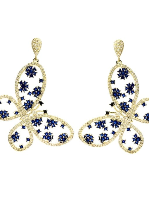 blue Brass Cubic Zirconia Butterfly Luxury Drop Earring