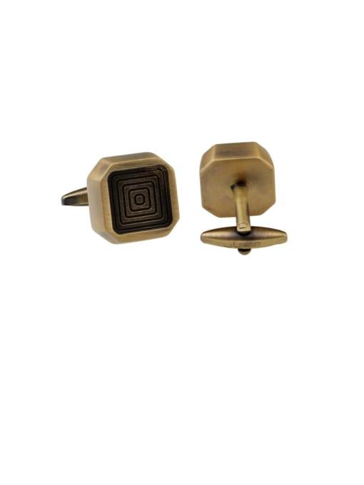 ThreeLink Brass Square Vintage Cuff Link 0