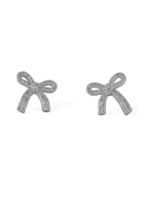 ACCA Brass Cubic Zirconia Bowknot Classic Stud Earring 2