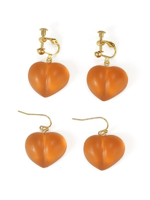Five Color Alloy Resin Heart Cute Hook Earring 3